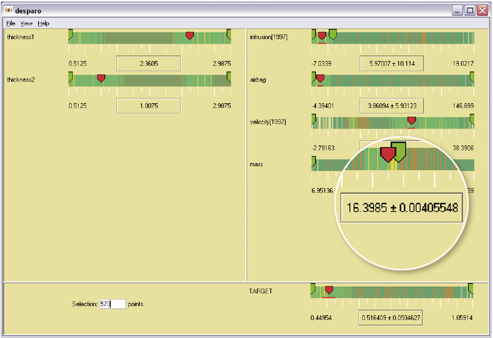 The DesParO user interface shows local tolerances of the model generated for a design optimization.